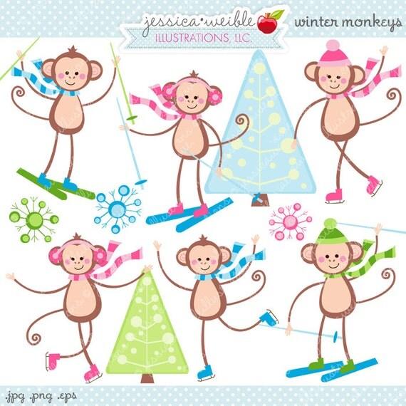 Winter Monkeys Cute Digital Clipart - Commercial Use OK - Ice Skating Monkeys, Skiing, Ice Skating, Cute Monkey Clipart, Christmas Graphics