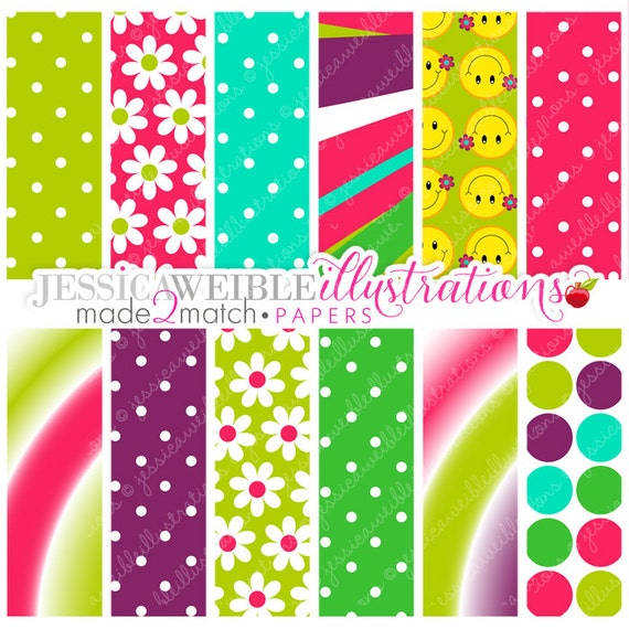 Hippie Chick Cute Digital Papers - Commercial Use OK - Digital Patterns, Backgrounds, Tie-Dye, Retro