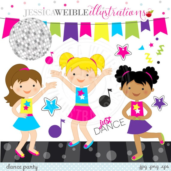 Dance party cute digital clipart commercial use ok for 1234 get on the dance floor video song free download