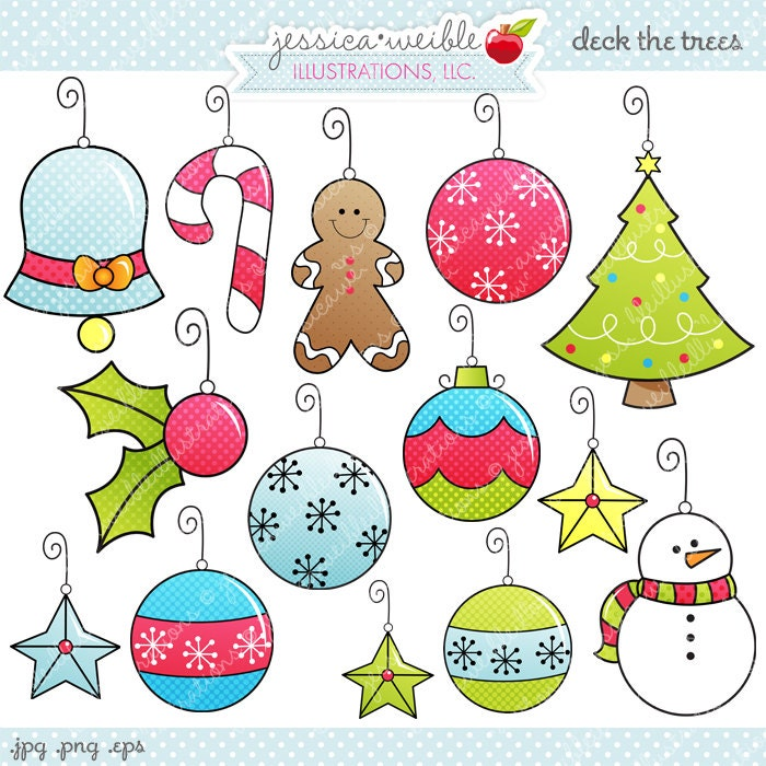 Deck the Trees Cute Digital Clipart Commercial Use OK