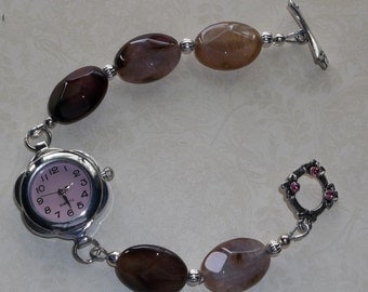 Brown/Pink Agate Stone Watch/Bracelet