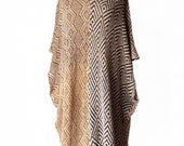 Summer poncho bohemian chic linen knitted  AFRICAN NOMADS-ocre with  black