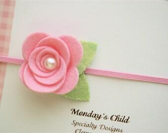 Pink Felt Flower Headband, Pink Baby Headband, Pink Flower Headband, Baby Flower Headband, Newborn Headband, Baby Headband, Toddler Headband