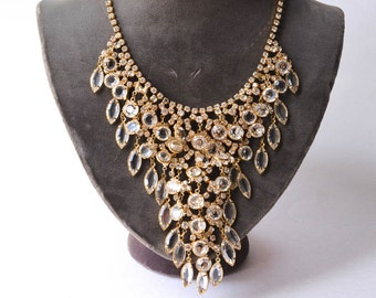 Statement Necklace Crystal and Rhinestone Necklace Stunning Vintage Crystal Bib Necklace