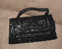 Vintage Black Beaded Evening Purse by Richere
