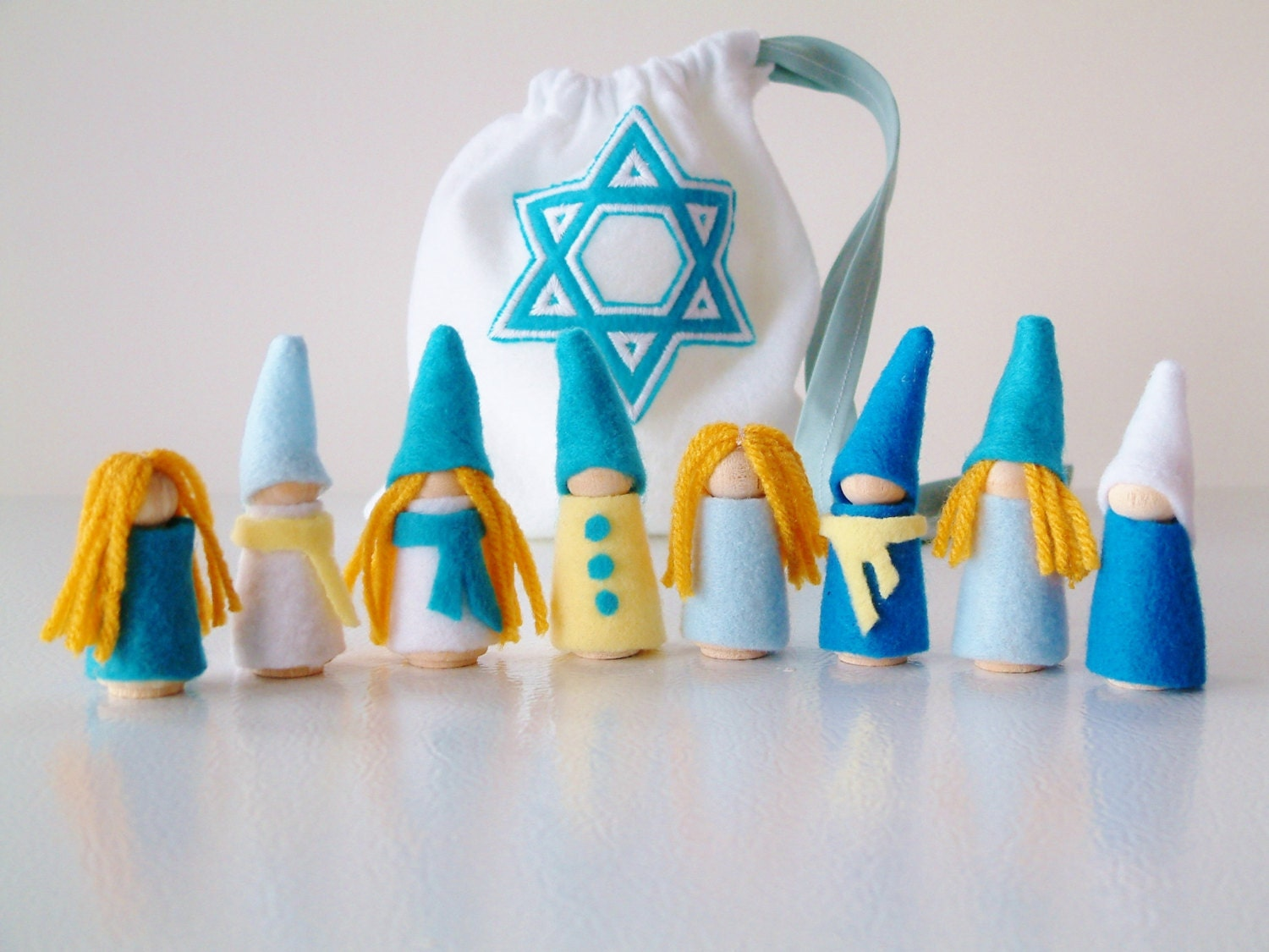 Handmade Peg Baskets : Hanukkah set of dolls festival light gnomes peg by zooble