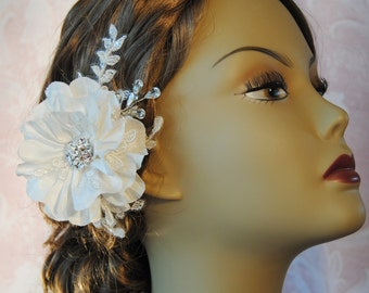 Ivory Hair Flower, Bridal Fascinator, Wedding Hair Clip, Silk Flower with Rhinestones and Lace, White, Champagne - SHANNON