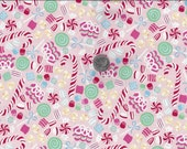 Sugar Rush I Spy Christmas Peppermint Ribbon Candy Cane By the Fat Quarter BTFQ
