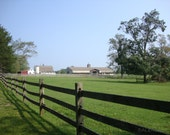 Farm with Fence and Barns in Bethany, Connecticut, farm, landscape, fine art photography, blue sky, green field,