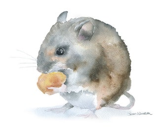 Field Mouse Watercolor Painting - Giclee Print - 7 x 5 - Nursery Art - Woodland Animal
