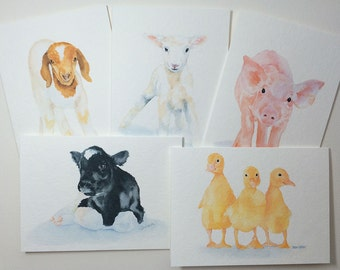 Farm Animals Watercolor Card Set Greeting Cards 5x7 A7 size - Baby Animals