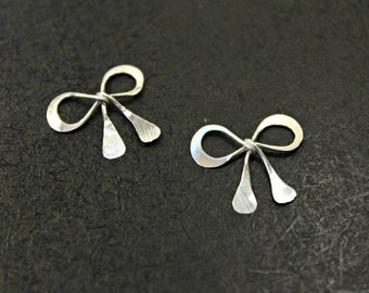 3 pcs - ( Antiqued Finish ) Sterling Silver Sweet Bow Charms - handmade