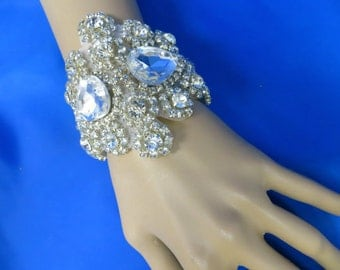 Rhinestone Bridal Bracelet, Ribbon Crystal Cuff, Wedding Jewelry,