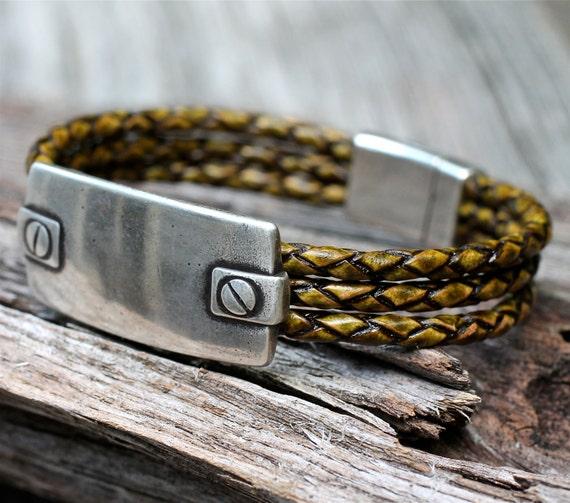 Silver Bracelet , Braided Leather Bracelet , Hardware Bracelet , Mens Bangle , Mens Bracelet , Screw Bracelet , Amy FIne Design
