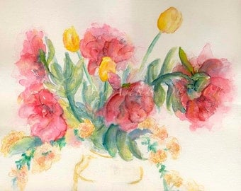 Mother's Day Watercolor Bouquet vintage Fuchsia Pink Peony Blossoms yellow tulips watercolour 11x14 fine art giclee