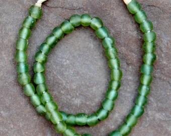 Ghana Glass Beads: Pale Green  9x9mm