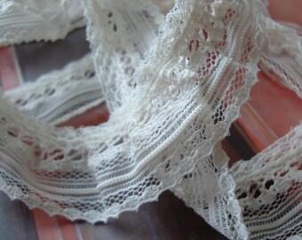 "7/8"" Wide Ivory Ruffled Lace Gathered Lace Bridal Lace Wedding Lace Gathered Trim Ruffled Trim S117"