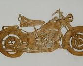 Handmade custom Scroll Saw  Fret wooden  1956 Hydra Glide  motorcycle wall plaque