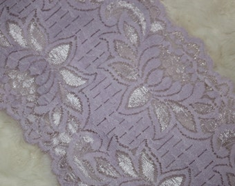 """2 yards Light Lavender Purple Lilac  galloon floral scalloped stretch lace 5.25"""" wide"""