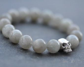 Fine silver skull and labradorite bracelet, blue and silver bracelet, stacking bracelet, natural stone bracelet