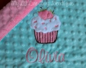Personalized baby blanket minky- baby girl topaz and paris pink cupcake- lovey blanket
