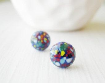 Blue Post Earrings - Titanium, Vintage Glass, Simple Jewelry, Minimalist, Confetti, White, Green, Yellow, Red, Black, Stud