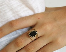 oval ring, black ring, gold ring, gold filled ring, statement ring, black gold ring, delicate ring, Swarovski ring,gold oval ring,woman ring