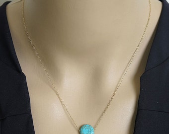 turquoise necklace, gold necklace, turquoise pendant, stone necklace, circle necklace, gemstone necklace, tiny necklace, gift necklace, SALE