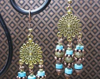 Southwestern / Western Turquoise Chandelier Dangle Cowgirl Earriings - AzTeC SuN DaNGLeS