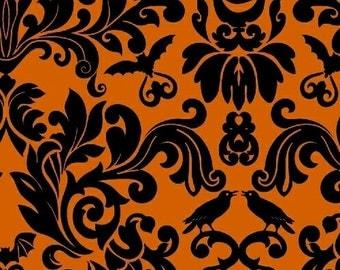 Raven from Windham fabrics - Black/Orange Pumpkin Raven Damask Halloween Quilt Fabric