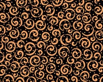 Metals Quilting Treasures Basics - Black and Copper Metallic Curly Cue