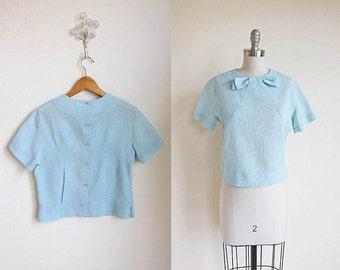 1950 Blue Blouse   Bow Tie   Sky Light Blouse