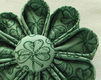 St. Patrick's Day Flower Pin Shamrocks Kanzashi - Boutonniere