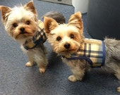Blue and Tan Plaid  Small Dog Harness Made in USA, dog harnesses, pet clothing