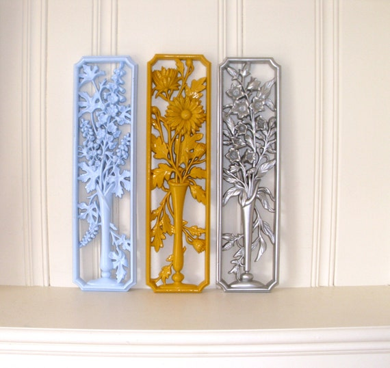 Vintage Sunflower Wall Decor : Vintage s burwood wall decor plaques floral by