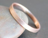 14k Solid ROSE Gold Ring - 2mm Rectangle Band - Simple UNISEX Wedding Ring (Size 3 - 12) - Shiny, Matte or Hammered