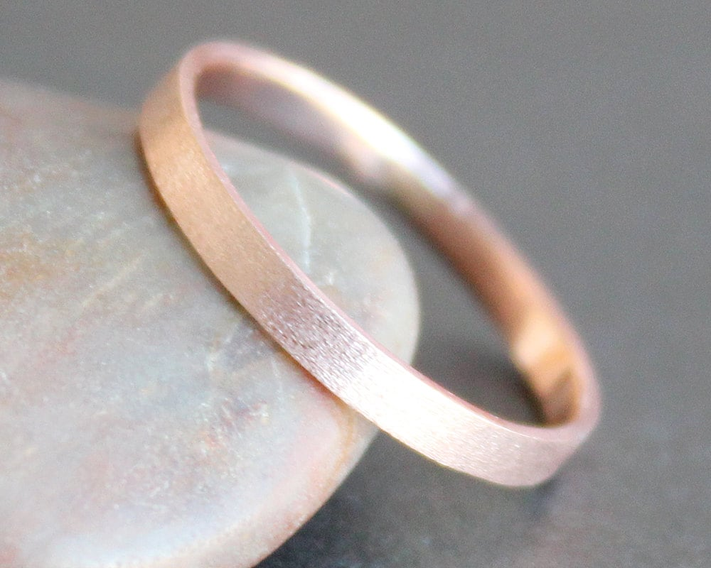 14k Solid ROSE Gold Ring 2mm Rectangle Band Simple UNISEX