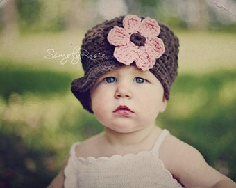 Crochet Toddler Hats for Girls, Newsboy Hat with Flower, Brown Toddler Girl Hats, Cotton, 12 Months to 4T