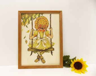 Vintage Paint-By-Number Oil Painting-- Holly Hobbie Collectible--- Retro 1970's Oil Painting