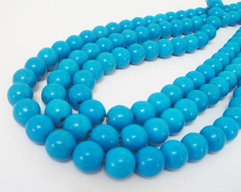 "Blue Turquoise Round Beads - Cyan Blue - Center Drilled Howlite - Smooth Round Ball Stone - DIY Jewelry - 10mm - 16"" strand - Necklace Beads"