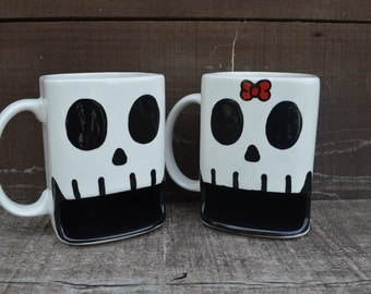 Custom Til Death Do Us Part - His and Hers Skull Ceramic Cookies and Milk Dunk Mug Set - Red Bow