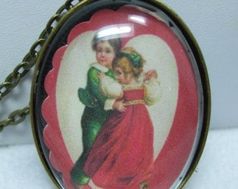 Vintage Love Angels and Valentines  Day Portrait Domed Glass Necklace Pendant- Super  UNIQUE--Several Choices Available