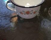 Vintage Porcelain Enamel Child's Potty, White with Black Trim and Rose Design