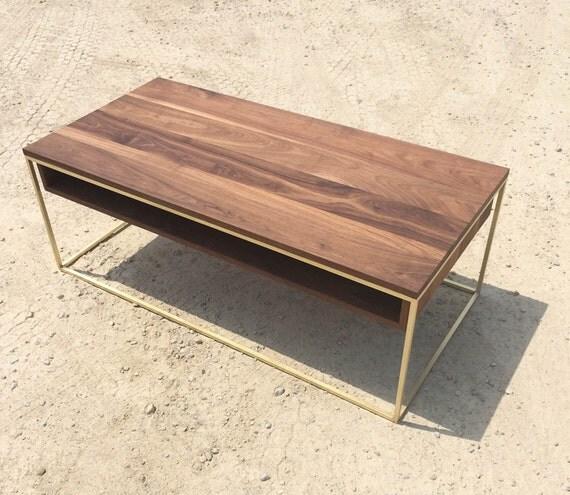 Plastolux Cube Coffee Table Brass And Walnut