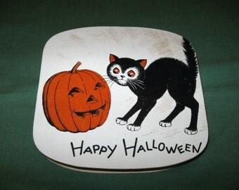 Vintage Halloween Pumpkin Black Cat Candy Container Box