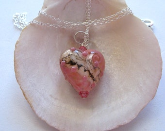 Soft Pink Glass Heart Pendant Necklace