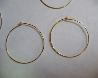 Earring, Gold-Plated, Brass, 25mm, Round Hoop, Pkg Of 5 Pairs
