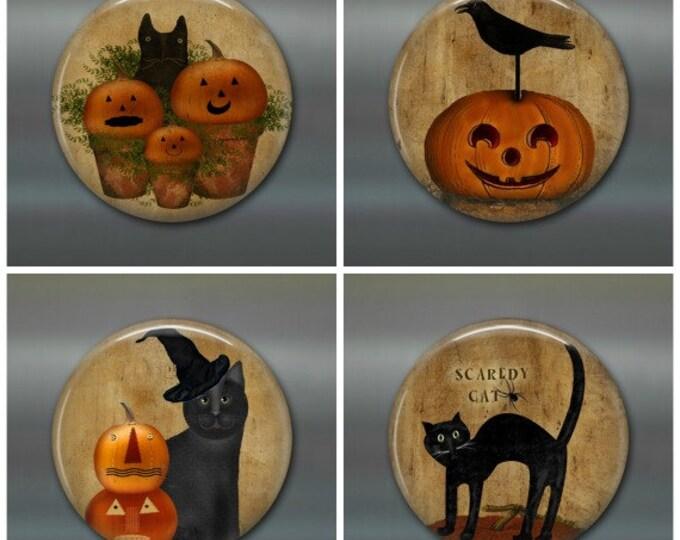 primitive halloween magnets, pumpkin fridge magnets, prim halloween decor, set of 4 magnets, kitchen decor, large fridge magnet set