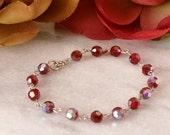"Red Garnet Bracelet 7.5"" Vintage Swarovski Crystal Linked Spring Summer January Birthstone Handmade"