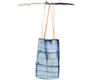 Marfa Tote : Natural Indigo Dyed Selvage Denim with Leather Straps in Mock Plaid Pattern